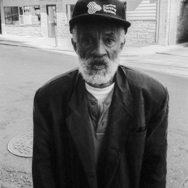A black and white photograph of a 60 something black man. He was a parking attendant in New Haven, CT. circa 1994