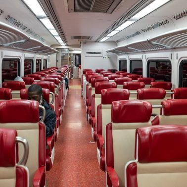 A nearly empty train car during the pandemic of 2020.