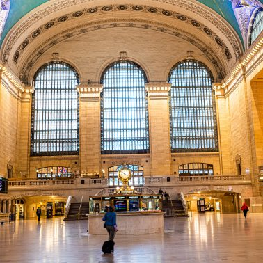 An empty Grand Central Station in Manhattan at mid-day during the week.