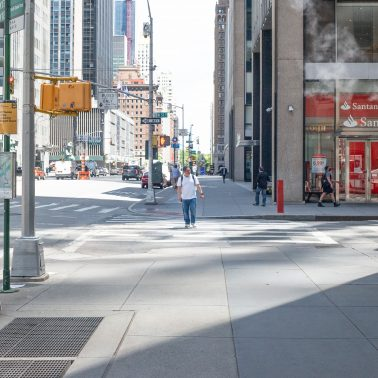 A deserted NYC 6th Avenue during pandemic