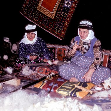 A photo of some ladies who work as rug weavers in Turkey.