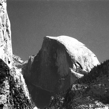 Half Dome in black and white film