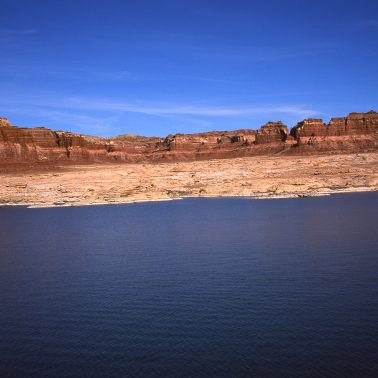 A clolr photograph, taken on film, of Lake Powell