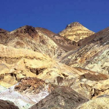 Artist's Palette, in Death Valley National, with multi-colored mineral filled mountains