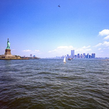 The statue of liberty and the twin towers